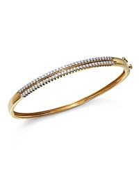 Bloomingdale's Diamond Two Row Bangle In 14K Yellow Gold 1.0 Ct. T.W. 100 Exclusive White Gold