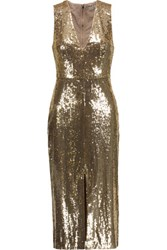 Alice Olivia Leora Sequin Embellished Tulle Midi Dress Gold