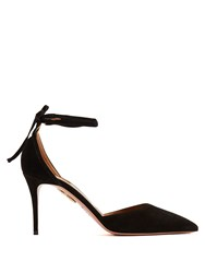 Aquazzura Heart Breaker Suede Pumps Black
