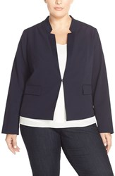 Plus Size Women's Ellen Tracy Reverse Lapel Blazer Navy