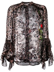 Preen By Thornton Bregazzi Floral And Snakeskin Print Blouse Pink And Purple