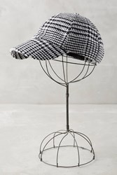 Anthropologie Caulfield Plaid Baseball Cap Black White