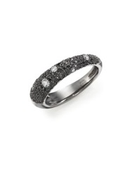 Kwiat Cobblestone Black White Diamond And 18K White Gold Band Ring White Gold Black