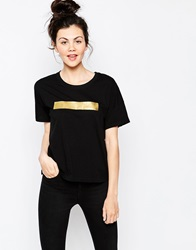 Dr. Denim Dr Denim T Shirt With Foil Strip 101Black
