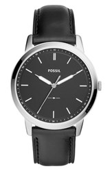 Fossil The Minimalist Leather Strap Watch 44Mm Black Silver