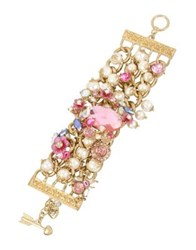 Betsey Johnson Floral Faux Pearl And Crystal Gem And Flower Wide Toggle Bracelet Gold