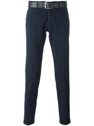 Pt01 Belted Chino Trousers Blue