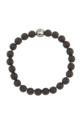 Steve Madden Black Onyx Beaded Stretch Bracelet Metallic