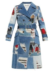Junya Watanabe Patchwork Denim Trench Coat Blue Multi