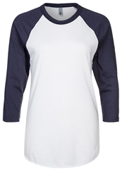 American Apparel Poly Long Sleeved Top White Navy