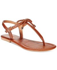 Nautica Women's Bahia T Strap Bow Sandals Women's Shoes Cognac