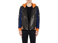 Balmain Men's Colorblocked Leather And Suede Hooded Moto Jacket Black Orange Blue No Color