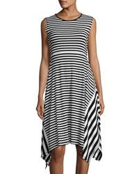 P. Luca Sleeveless Striped Asymmetric Dress Black White