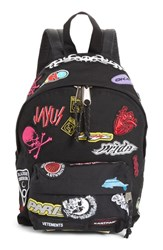 Vetements Mini Embroidered Sticker Backpack Black