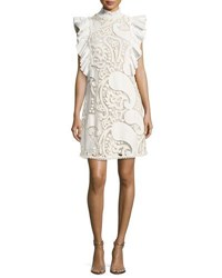 See By Chloe Smocked Collar Sleeveless Ruffled Lace Mini Dress White