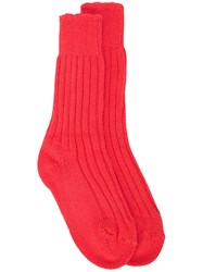 The Elder Statesman Ribbed Socks Red