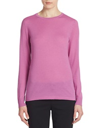 Lord And Taylor Merino Wool Basic Crewneck Sweater Island Orchid