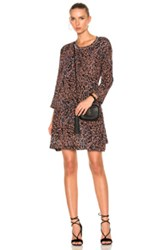 Raquel Allegra Long Sleeve Bell Dress In Animal Print Black Orange Animal Print Black Orange