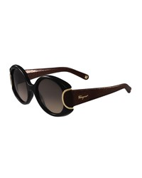 Salvatore Ferragamo Round Leather Trim Sunglasses Black Chocolate