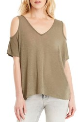 Michael Stars Women's Cold Shoulder Tee Olive Moss