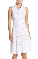 Women's London Times Eyelet Fit And Flare Shirtdress White