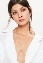 Missguided Gold Moon Pendant Layered Necklace