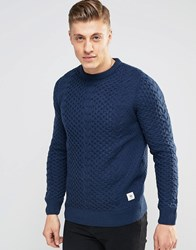 Bellfield Cable Knitted Jumper Navy