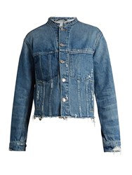 Helmut Lang Frayed Edge Cropped Denim Jacket Light Blue