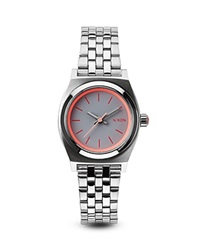 Nixon The Small Time Teller Watch 26Mm Silver Neon Pink