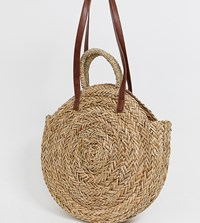 South Beach Large Round Straw Bag Beige