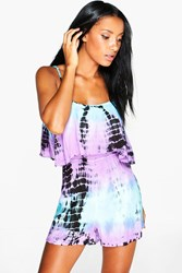 Boohoo Coin Trim Tie Dye Playsuit Multi