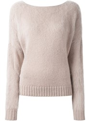 Agnona 'Runway' V Back Sweater Nude And Neutrals