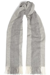Acne Studios Canada Bengal Fringed Striped Wool Scarf Gray