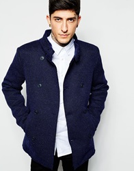 Sisley Knitted Doubled Breasted Coat Blue