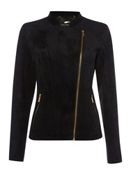 Episode Faux Suede Biker Jacket With Gold Zips Black