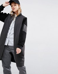 Native Youth Longline Bomber Jacket With Contrast Sleeves Black