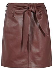 Reiss Leonie Belted Leather Mini Skirt Burgundy