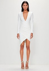 Missguided White Plunge Ruched Assymetric Hem Midi Dress