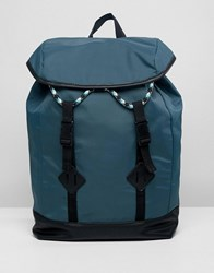 Asos Design Backpack In Green With Double Strap And Coloured Drawcord