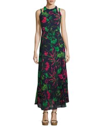 Neiman Marcus Halter Neck Floral Print Maxi Dress Multi Pattern