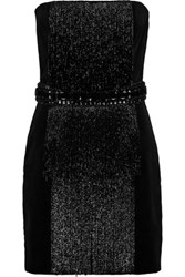 Balmain Bead And Crystal Embellished Cotton Velvet Mini Dress Anthracite