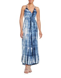 Design Lab Lord And Taylor Tie Dye Maxi Dress Blue White