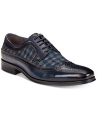 Tallia Men's Sergio Mixed Media Tweed Oxfords Men's Shoes Navy