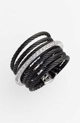 Women's Alor 7 Row Cable And Diamond Ring Black