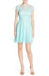 Women's Bb Dakota 'Rhianna' Illusion Yoke Lace Fit And Flare Dress Aruba Blue