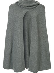 Le Kasha Madison Open Knit Cape Grey