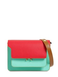 Marni Medium Tricolor Leather Trunk Bag Red Light Blue