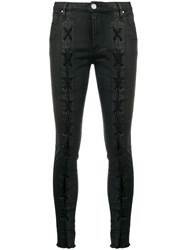 Don't Cry Lace Up Detail Skinny Jeans Black