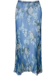 Dondup Floral Print Pleated Skirt Blue
