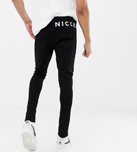 Nicce London Skinny Fit Jeans In Black With Logo Exclusive To Asos